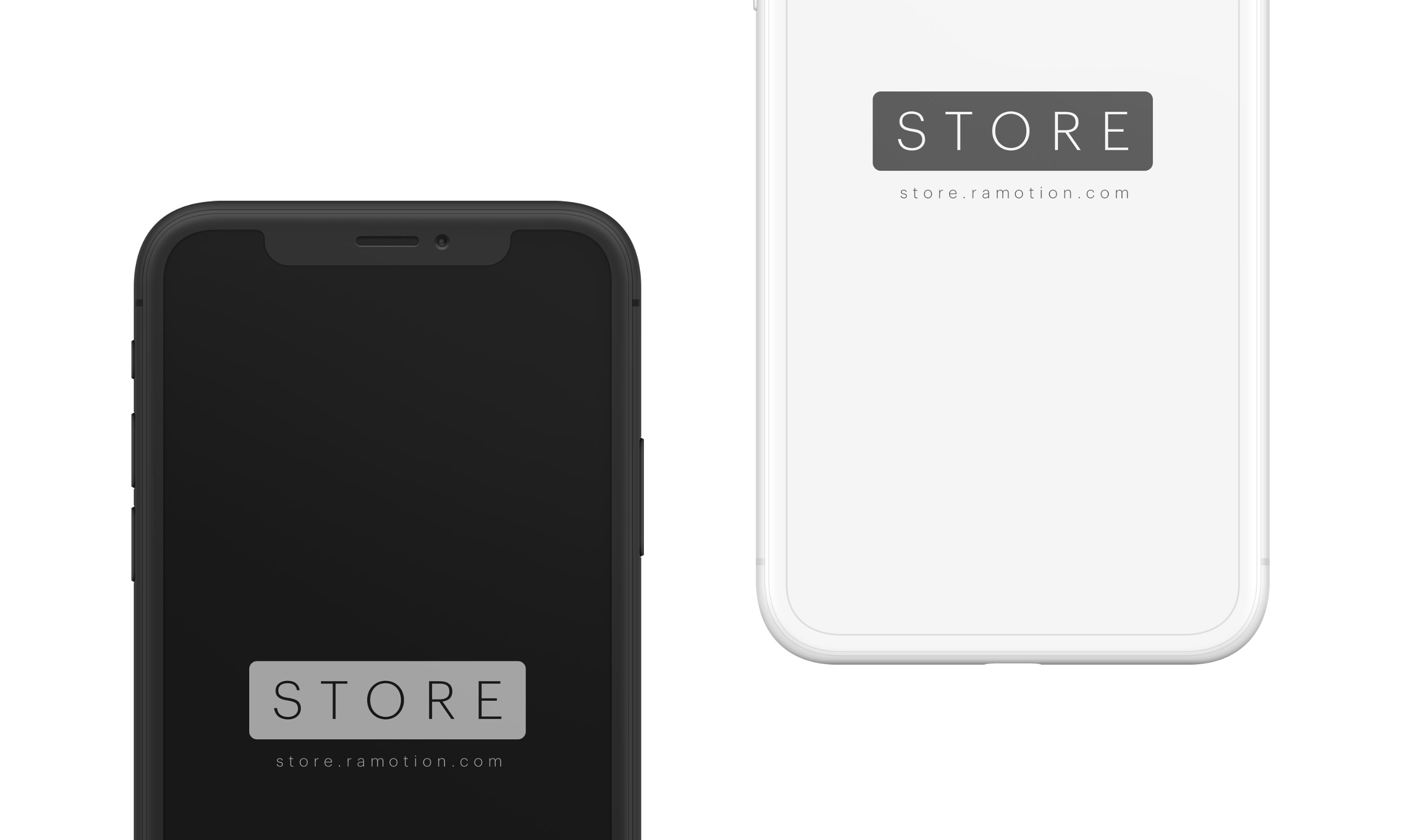 iPhone X Clay Black White Frontal Mockup