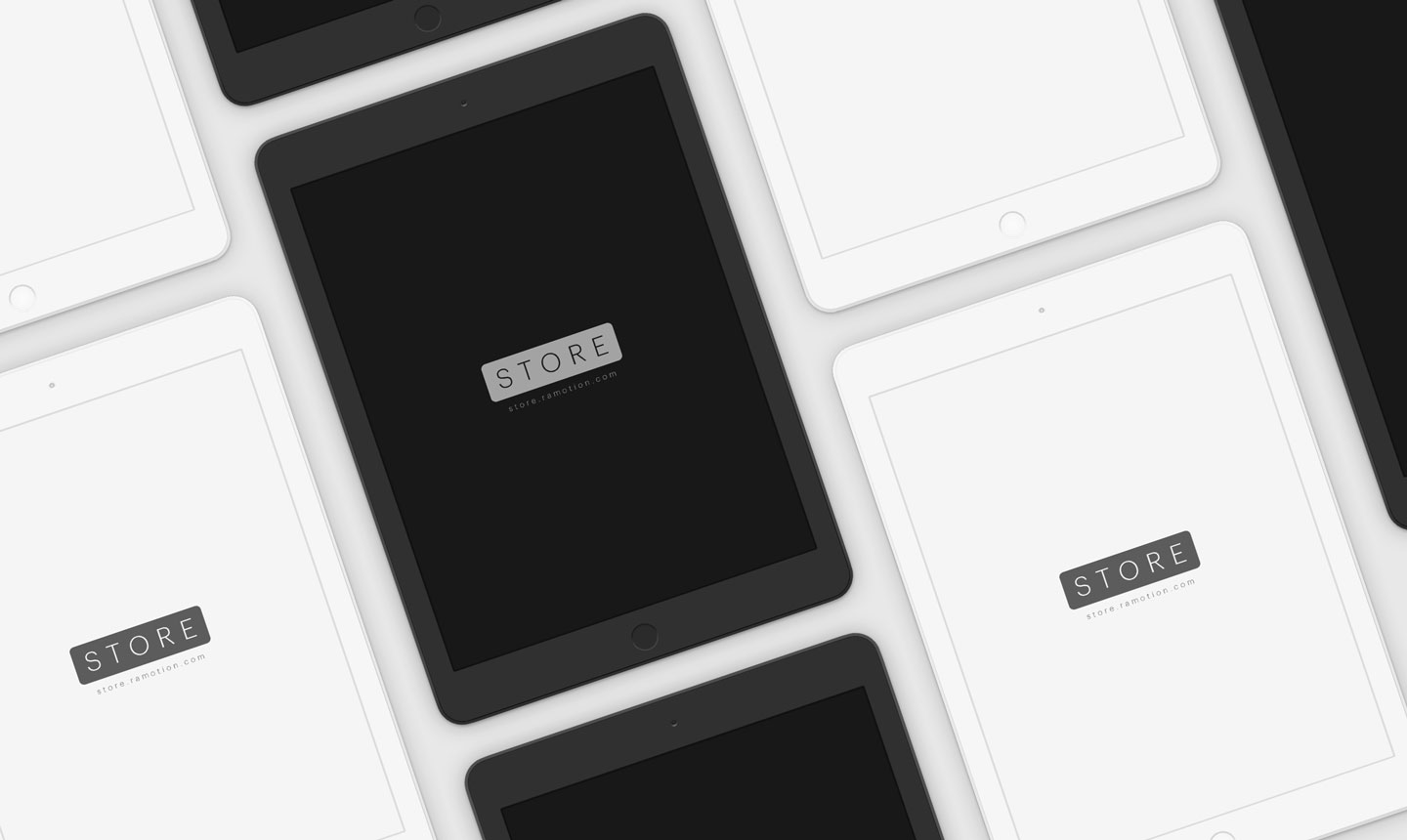 ipad clay black white frontal portrait mockups top psd