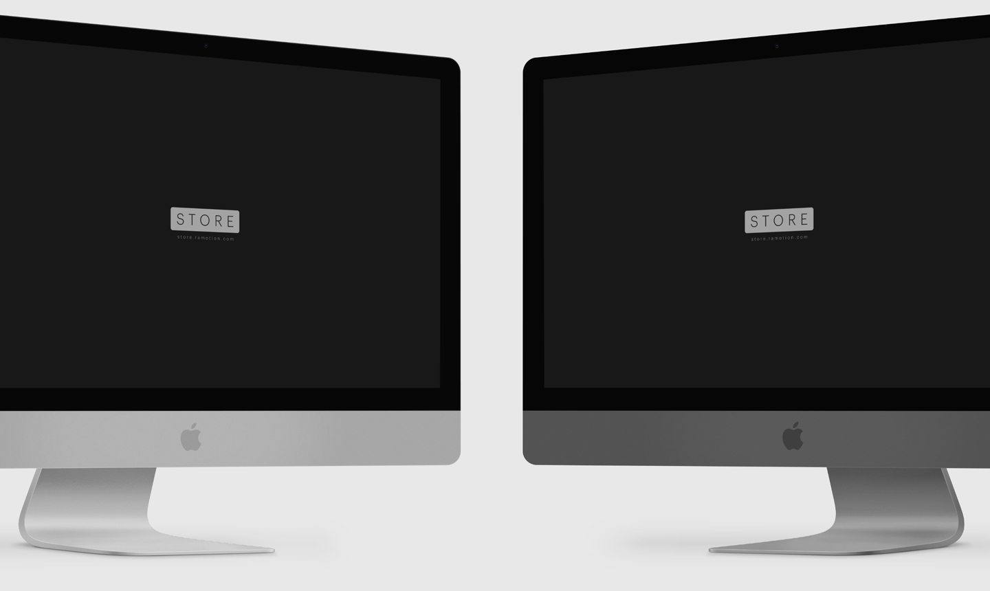 left and right imac silver and space gray mockups