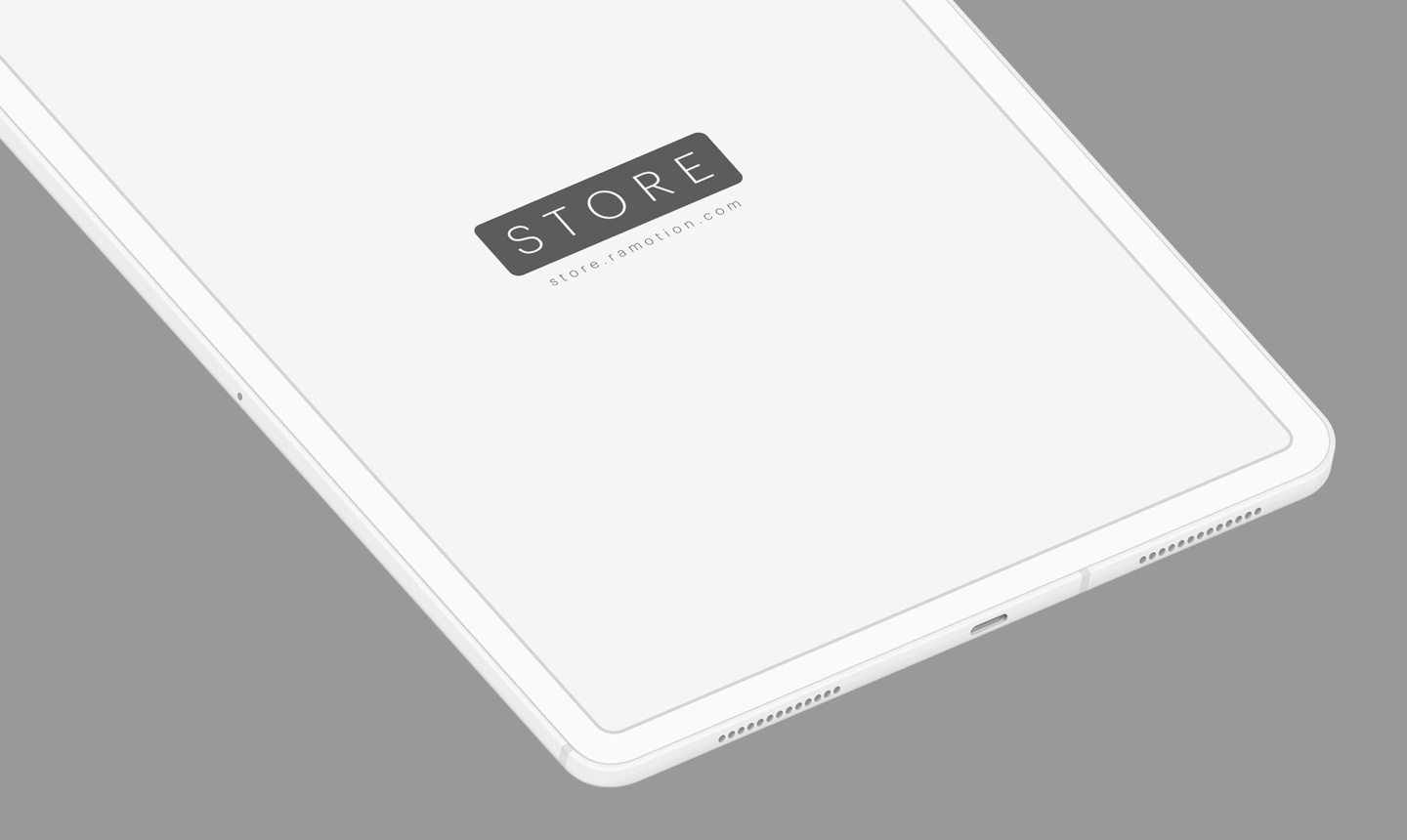 iPad Pro clay white isometric mockup