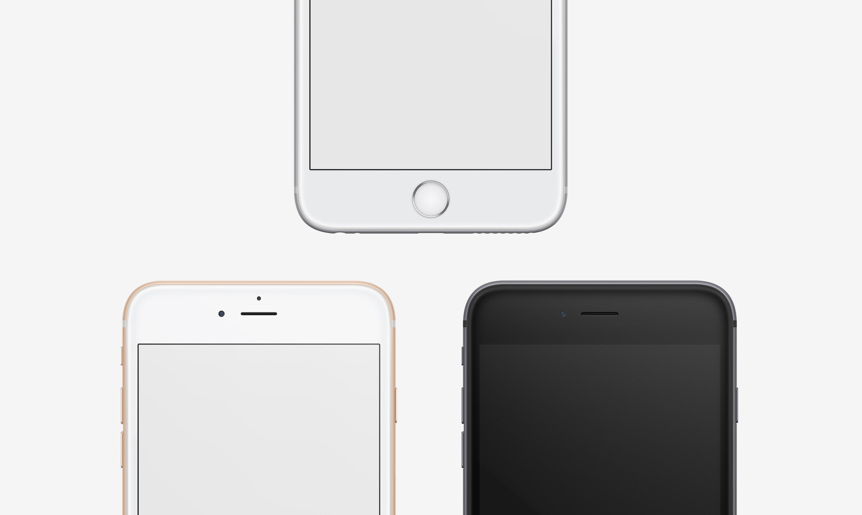 iphone 6 plus frontal gold white space gray psd