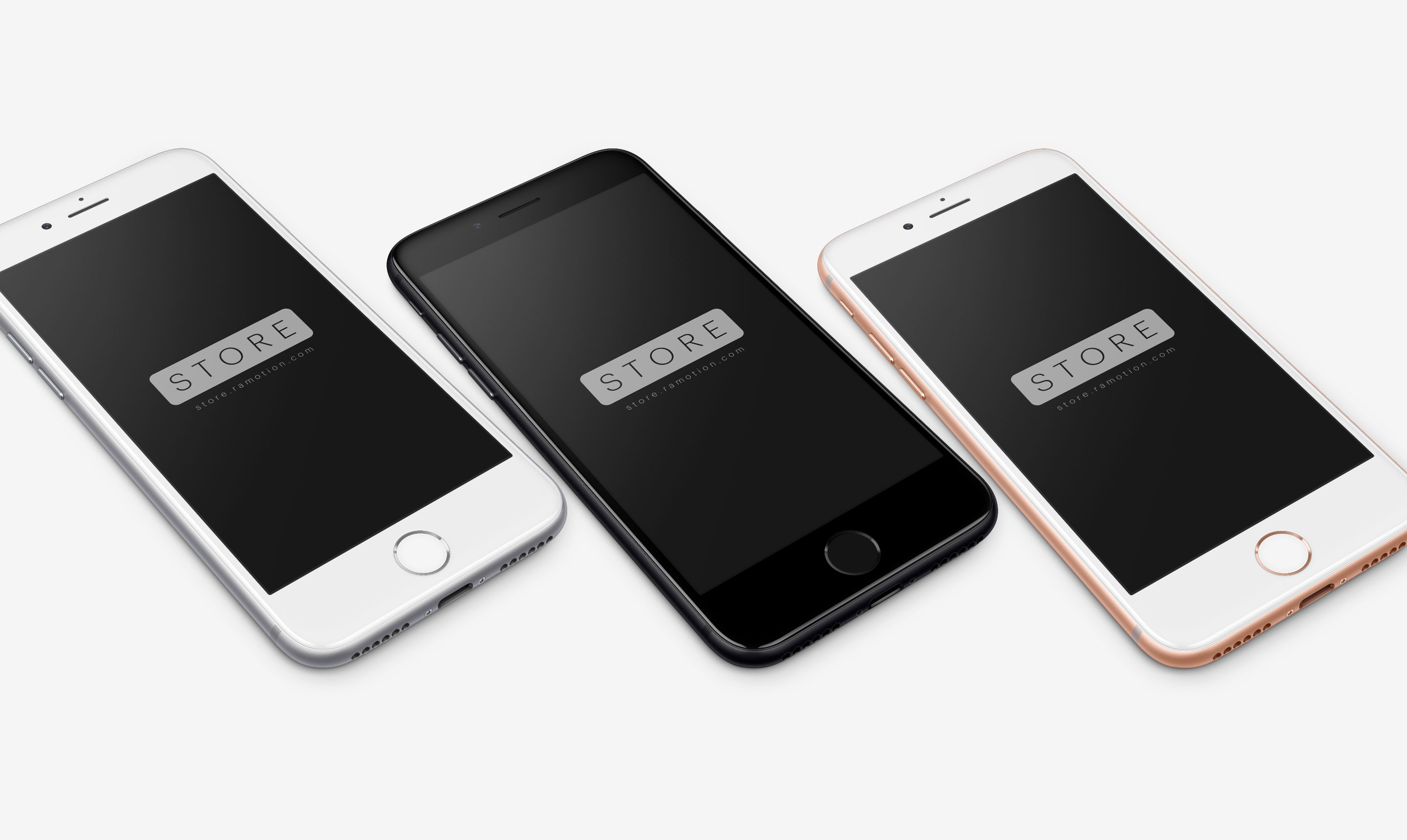 iphone 8 template perspective view silver gold space gray psd