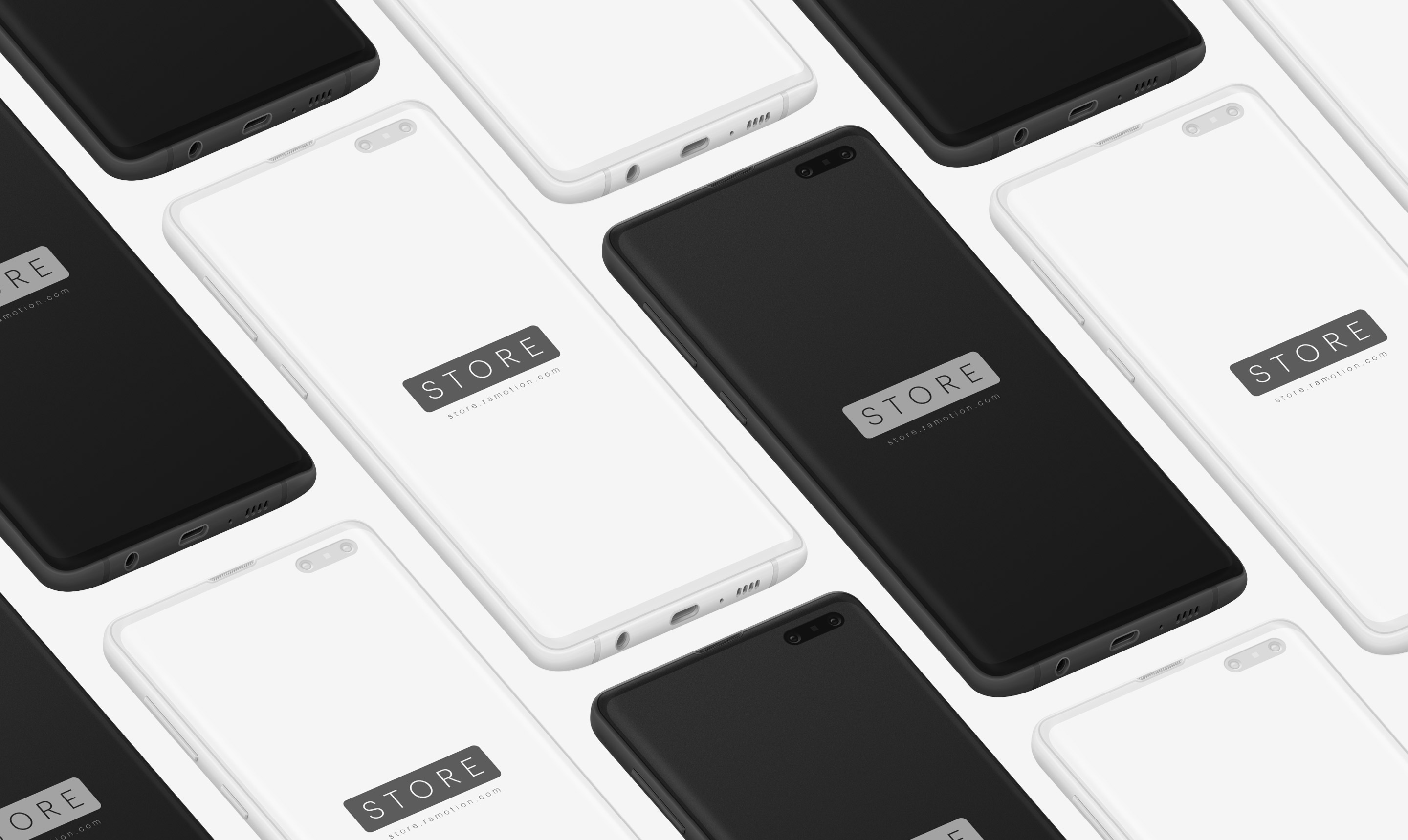 samsung s10 galaxy clay black white isometric psd