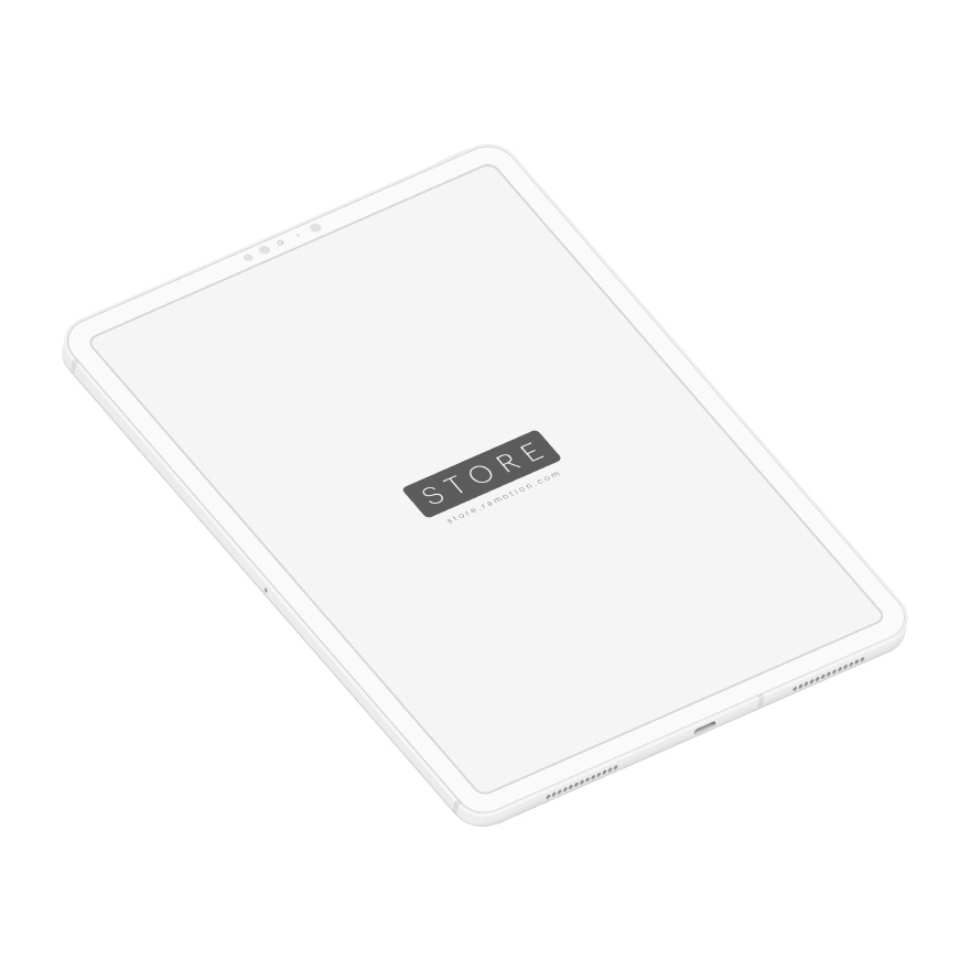 ipad pro mockup isometric clay white
